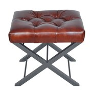 Fashion N You Artisan Bonded Leather Cross Metal Stool
