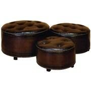 Woodland Imports 3 Piece Ottoman Set