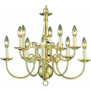 Aurora Lighting Incandescent Chandelier, Polished Brass (STL-VME235706)
