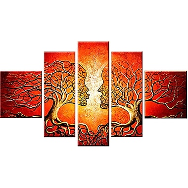 Designart Red Human Tree Hand-Painted Oil on Canvas, 5 Piece, (OL113)