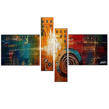 Designart Textured Orange 4 Piece Abstract Oil Painting on Canvas, (OL129)