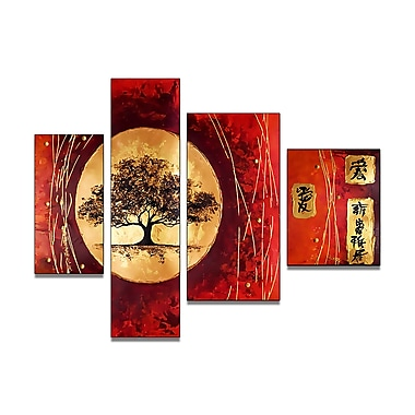 Designart Asian Tree Hand-Painted, 4 Piece Painting, (OL188)