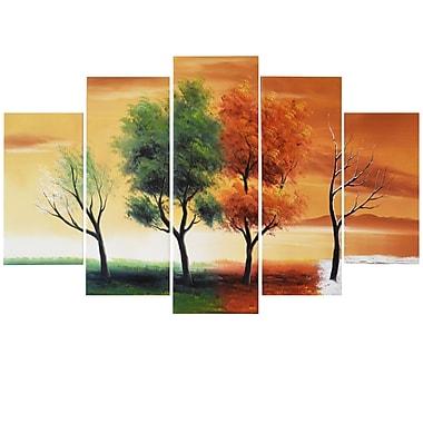 Designart – Tableau sur toile, Quatre saisons d'un arbre, 5 pièces, (OL373)