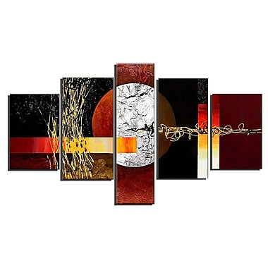 Designart Abstract Geo Painting, 5 Piece Hand Painted Canvas Art, (OL379)
