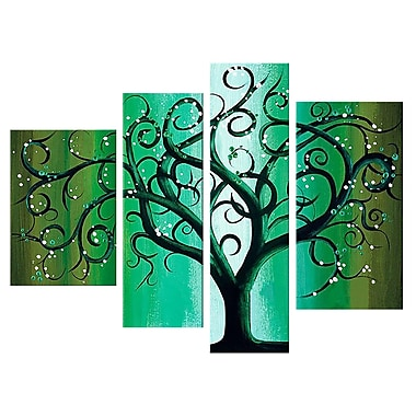 Designart Green Abstract Tree, 4 Piece Hand-Painted Canvas Art Set, (OL397)