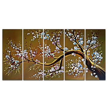 Designart Large Abstract Modern Brown Tree Oil Painting, 5 Piece Canvas Set, (OL1021)