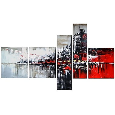 Designart Red and Black Cityscape Hand-Painted Canvas Oil Painting, (OL1101)