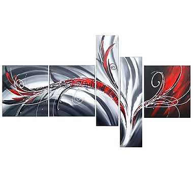 Designart Abstract Flow Hand-Painted, 5 Piece Oil Painting, (OL143)