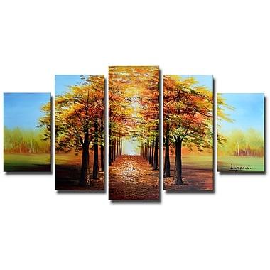 Designart Golden Tree Tops Forest Oil Painting, (OL1234)