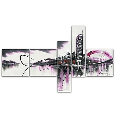 Designart – Tableau moderne imprimé sur toile, Paysage urbain, mauve, 5 panneaux, (PT1028-414)
