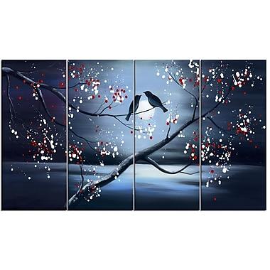 Designart – Imprimé sur toile, Oiseaux unis pour la vie, 4 panneaux, 48 po x 28 po, (PT1168-271)