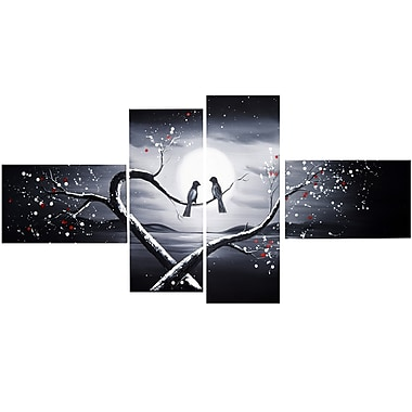 Designart – Imprimé sur toile, Oiseaux amoureux, 4 panneaux, 60 po x 32 po, (PT1221G)