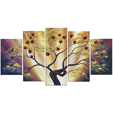 Designart Modern Floral 5-Panel Canvas Art Print, 60