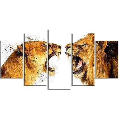 Designart – Imprimé sur toile, Querelle de lions, 5 panneaux, (PT2336-373)