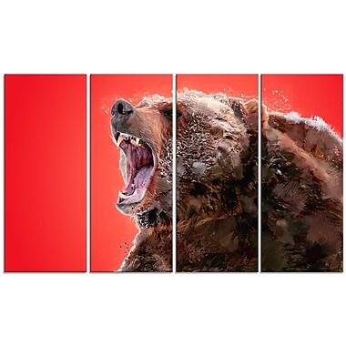 Designart – Grand tableau sur toile rouge, Ours sauvage, 5 panneaux, (PT2344-271)