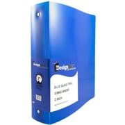 "JAM Paper® Designders 2"" Width 3-Ring Plastic Binder, Blue (820T2bu)"