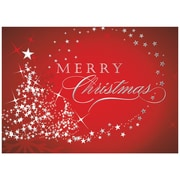 JAM Paper® Blank Christmas Card Sets, Starry Red Tree Christmas Cards, 25/Box (526M1025WB)