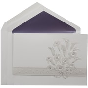 JAM Paper® Calla Lily Design Large Quinceanera Invitation Set, White, Purple-Lined Envelopes, 50/Box (5268784pu)
