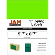"JAM Paper® Large Shipping Labels, Half Sheet, 5.5"" x 8.5"", Neon Green, 2 Labels/Sheet, 25 Sheets/Pack (359429626)"