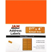 JAM Paper® Mailing Address Labels, 1 1/3 x 4, Neon Red, 126/pack (359329610)