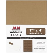 JAM Paper® Mailing Address Labels, 1 1/3 x 4, Brown Kraft, 126/pack (359330336)