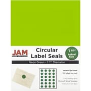 JAM Paper® Round Circle Label Sticker Seals, 1 2/3 inch diameter, Neon Green, 120/pack (354329583)