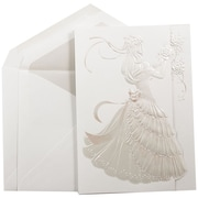 JAM Paper® Quinceanera Invitation Set, Large, 5.5 x 7.75, White with Pink Princess Design Crystal Lined, 50/pack (5269515CR)