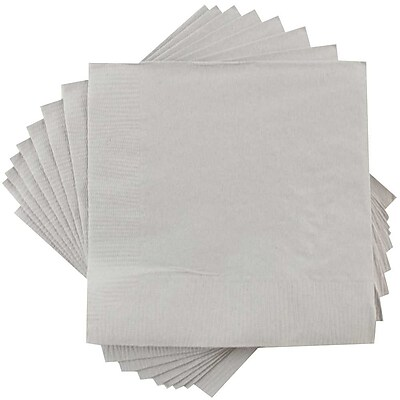 JAM Paper Small Beverage Napkins Small 5 x 5 Silver 50 Pack 255628826