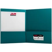 JAM Paper® Two Pocket Matte Presentation Folder, Teal Blue, 6/Pack (166628274b)