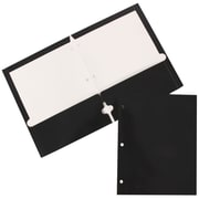JAM Paper® Two-Pocket Glossy 3-Hole-Punched Presentation Folder, Black, 50/Box (385GHPblc)
