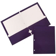JAM Paper® Two-Pocket Glossy 3-Hole-Punched Presentation Folder, Purple, 50/Box (385GHPpuc)