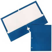 JAM Paper® Two Pocket Glossy 3 Hole Punched Presentation Folder, Blue, 50/Box (385GHPbuc)
