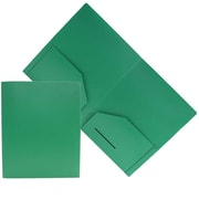 JAM Paper® Heavy Duty Plastic 2-Pocket Folders, Solid Green, 6/Pack (383hgrd)