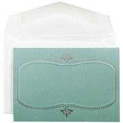 JAM Paper® Small Wedding Invitation Sets, Sunburst Lichen with Silver Oval Design, White Envelopes, 100/Box (52682720)