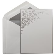 JAM Paper® Wedding Invitation Set, Large, 5.5 x 7.75, White, Silver Leaves Design, Silver Lined Envelopes, 50/pack (5268642SLC)