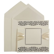 JAM Paper® Large Square Wedding Invitation Sets, Ecru with Ribbon and Black Design, Pearl Lined, 50 Sets/Box (526573perb)