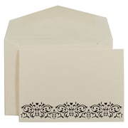 JAM Paper® Wedding Invitation Set, Small, 3 3/8 x 4 3/4, Ecru with Black Design with White Envelopes, 100/pack (5265730)