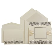 JAM Paper® Wedding Invitation Set, Ecru with Ribbon and Black Design, Pearl Lined, 1 Small/1 Large Set, 150/Carton (526573perbC)