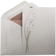 JAM Paper® Wedding Invitation Set, Large, 5.5 x 7.75, White, Pearl Calla Lily Design, Pink Lined Envelopes, 50/pack (5268901PI)