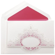 JAM Paper® Wedding Invitation Set, Large, 5.5 x 7.75, White, Pink Crown Oval Design, Hot Pink Lined Envelopes, 50/pk (5268201PI)
