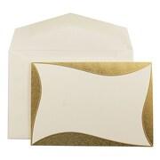 JAM Paper® Wedding Invitation Sets, Ecru with Gold Curve Border Design, Ecru Envelopes, Small, 100/Box (52681120)