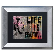 "Trademark Fine Art ''Life is Beautiful'' by Banksy  11"" x 14"" Black Matted Silver Frame (886511879430)"