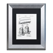 """Trademark Fine Art ''Art Of Brewing Beer Patent White'' by Claire Doherty 11"""" x 14"""" Black Matted Silver Frame (886511841703)"""