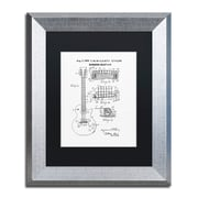 """Trademark Fine Art ''1955 Mccarty Gibson Guitar White'' by Claire Doherty 11"""" x 14"""" Black Matted Silver Frame (886511842540)"""