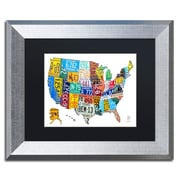 """Trademark Fine Art ''License Plate Map USA 2'' by Design Turnpike 11"""" x 14"""" Black Matted Silver Frame (886511906624)"""