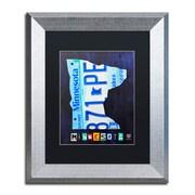 "Trademark Fine Art ''Minnesota License Plate Map'' by Design Turnpike 11"" x 14"" Black Matted Silver Frame (886511909502)"