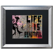"Trademark Fine Art ''Life is Beautiful'' by Banksy  16"" x 20"" Black Matted Silver Frame (886511879447)"