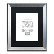 """Trademark Fine Art ''Photographic Camera 1962 White'' by Claire Doherty 16"""" x 20"""" Black Matted Silver Frame (886511841994)"""