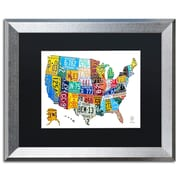 """Trademark Fine Art ''License Plate Map USA 2'' by Design Turnpike 16"""" x 20"""" Black Matted Silver Frame (886511906631)"""