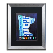 "Trademark Fine Art ''Minnesota License Plate Map'' by Design Turnpike 16"" x 20"" Black Matted Silver Frame (886511909519)"